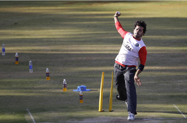 Indian cricketer S. Sreesanth bowls during a training session ahead of the ICC Cricket World Cup in Bangalore, India, Wednesday, Feb. 9, 2011. The ICC World Cup Cricket is slated to begin Feb. 19.  (A