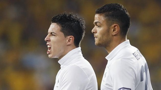 Samir Nasri and Hatem Ben Arfa during France's Euro 2012 match against Sweden