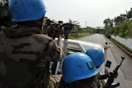 File picture shows Niger UN peacekeepers on patrol in a street of Abidjan. Seven Niger UN peacekeepers were killed in an ambush in western Ivory Coast, in the deadliest attack on the force since its deployment in 2004, the UN said