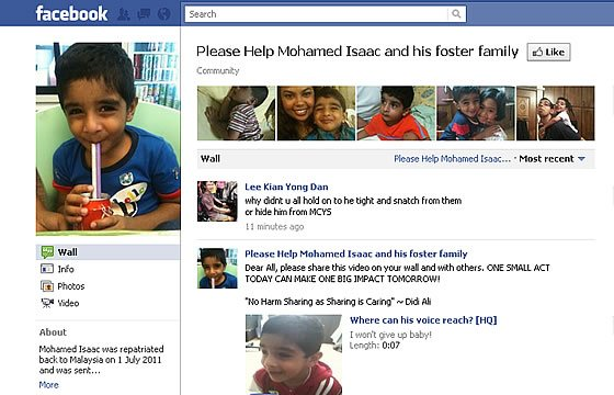 A 'Please help Mohamed Isaac and his foster family' page has been set up on Facebook. (Screengrab)