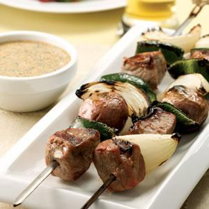Monday: Steak & Potato Kebabs with Creamy Cilantro Sauce (recipe below)