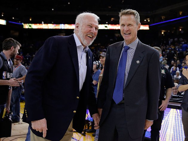 Gregg Popovich and Steve Kerr peel off some Mort Sahl bits. (Getty Images)