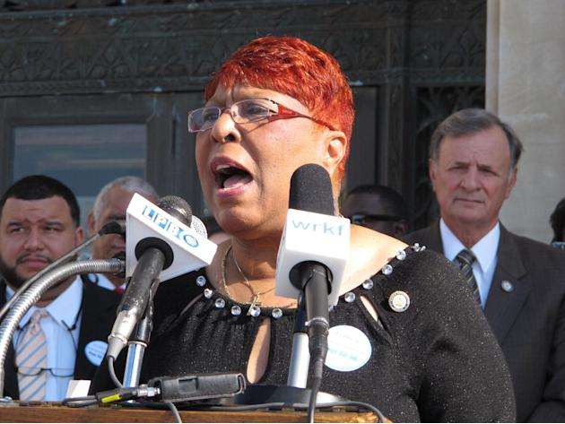State Rep. Patricia Smith, D-Baton Rouge, talks about her support of a Medicaid expansion bill at a rally on Wednesday, April 23, 2014, in Baton Rouge, La. Smith said Gov. Bobby Jindal's oppositio