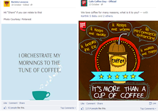 Social Media Strategy Review: Restaurants and Cafes image facebook post comparison of cafe brand