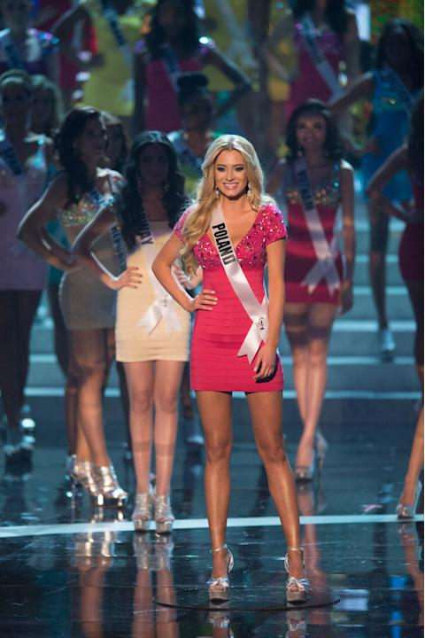 Miss Universe Poland 2012, Marcelina Zawadzka, is announced as one of the top sixteen contestants in her Sherri Hill dress and Chinese Laundry shoes during this year's LIVE NBC Telecast of the 2012 Mi