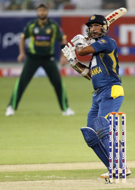 Sri Lanka's Kumar Sangakkara plays a shot during their second Twenty20 international cricket match against Pakistan in Dubai