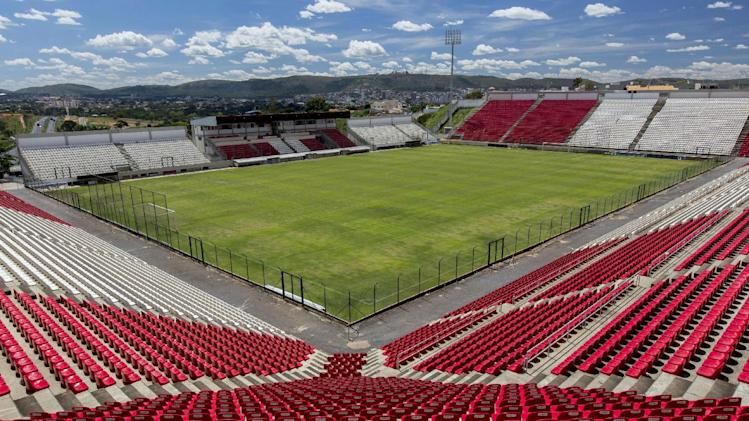In this Feb. 4, 2014 photo, shows a view of the Arena do Jacare stadium in Sete Lagoas, Brazil. Uruguay's national soccer team will practice at the stadium during the 2014 FIFA World Cup tournament in Brazil