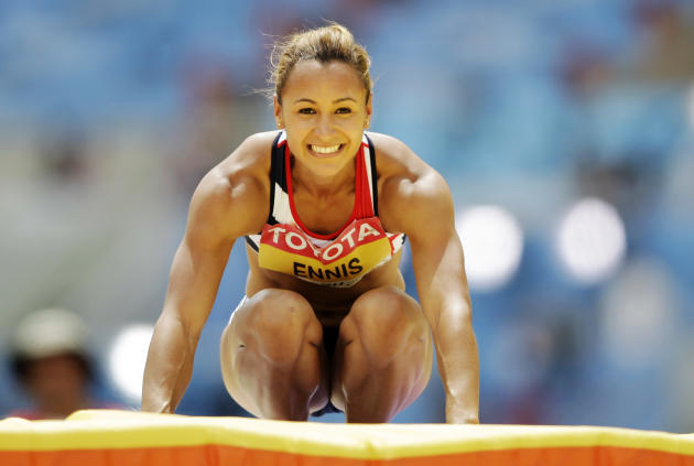Britain's Jessica Ennis reacts after clearing the bar in the Heptathlon High Jump at the World Athletics Championships in Daegu, South Korea, Monday, Aug. 29, 2011. (AP Photo/Matt Dunham)