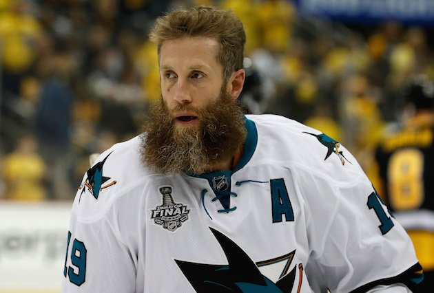 PITTSBURGH, PA - JUNE 09: Joe Thornton #19 of the San Jose Sharks warms up before playing in Game 5 of the 2016 NHL Stanley Cup Final against the Pittsburgh Penguins at Consol Energy Center on June 9, 2016 in Pittsburgh, Pennsylvania. (Photo by Dave Reginek/NHLI via Getty Images)