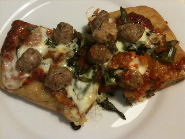 Pizza Bianca with Sausage and broccolini