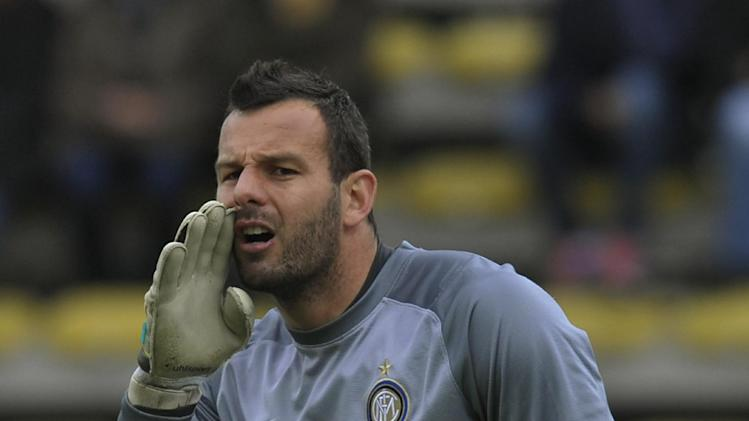 Inter Milan goalkeeper Samir Handanovic, of Slovenia, shouts during a serie A soccer match between Parma and Inter Milan at Parma's Tardini stadium, Italy, Saturday, April 19, 2014