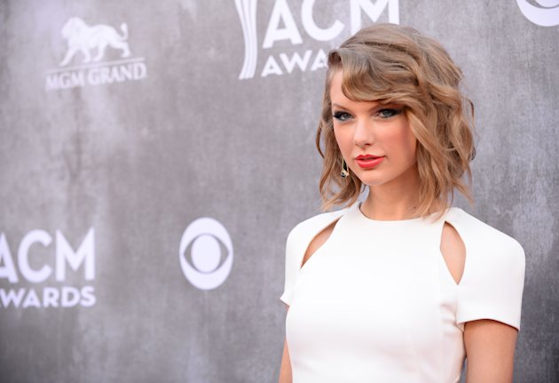 FILE - In this Sunday, April 6, 2014, file photo, Taylor Swift arrives at the 49th annual Academy of Country Music Awards at the MGM Grand Garden Aren...