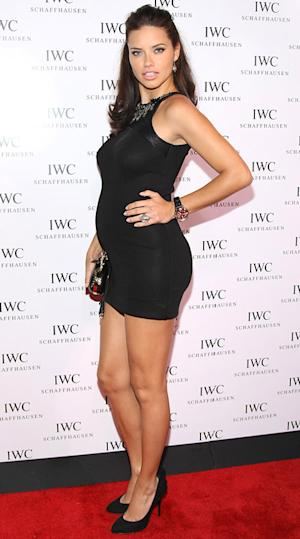 Pregnant Adriana Lima Flaunts Baby Bump in Tight Little Black Dress