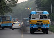 Buses are pictured in Kolkata on July 31, 2009. Three men chased and allegedly molested a South Korean student on a bus in eastern India, police said Monday, in the latest incident to raise fears over women's safety in the country
