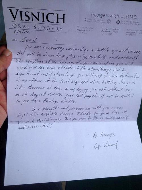 Layoff Letter to Woman With Cancer Causes Outcry - Yahoo News Canada