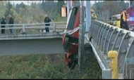 Truck Hangs From Overpass After Drunken Crash