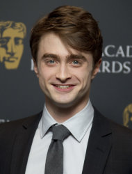 British actor Daniel Radcliffe after he announced the British Academy Film Awards nominations in Piccadilly, London, Tuesday, Jan. 17, 2012. (AP Photo/Joel Ryan)