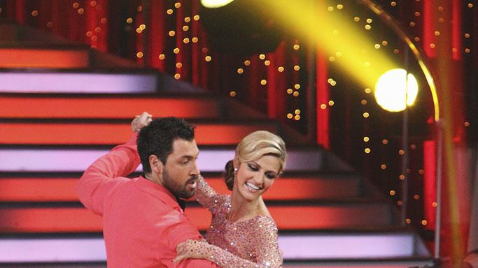 Erin Andrews and Maksim Chmerkovsky perform a dance on the 10th season of Dancing with the Stars.