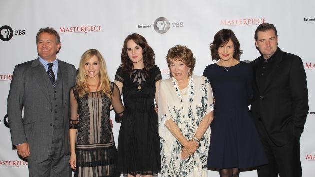 Hugh Bonneville, Joanne Froggatt, Michelle Dockery, Shirley MacLaine, Elizabeth McGovern and Brendan Coyle attend the Masterpiece Classic 'Downtown Abbey, Season 3' panel during day 1 of the PBS portion of the 2012 Summer TCA Tour held at the Beverly Hilton Hotel on July 23, 2012 -- Getty Images