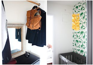 Before and after pictures of a tiny closet turned baby nursery. (via hitherandthither.net)
