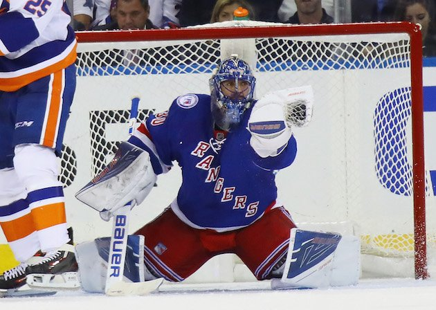 NEW YORK, NY - OCTOBER 13: Henrik Lundqvist #30 of the New York Rangers skates against the New York Islanders at Madison Square Garden on October 13, 2016 in New York City. The Rangers defeated the Islanders 5-3. (Photo by Bruce Bennett/Getty Images)
