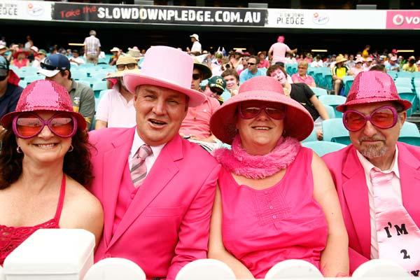 SYDNEY, AUSTRALIA - JANUARY 05:  Fans dress completely in pink during day three of the Second Test Match between Australia and India at Sydney Cricket Ground on January 5, 2012 in Sydney, Australia.