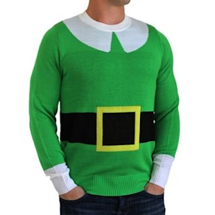 This elf sweater is an excellent example of a terrible gift for your man. Especially your big, burger-loving man.