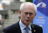 "European Council President Herman Van Rompuy announced European leaders clinched a deal on a new ""growth pact"" of measures worth some 120 billion euros to breathe life into floundering economies"