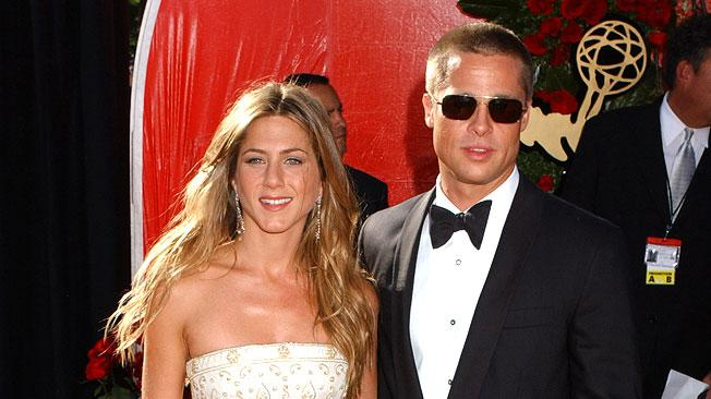 Jennifer Aniston and Brad Pitt at The 56th Annual Primetime Emmy Awards.