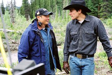 Director Ang Lee and Jake Gyllenhaal on the set of Focus Features' Brokeback Mountain