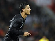 Portugal forward Cristiano Ronaldo pictured after scoring during an international friendly against Ecuador at the D. Afonso Henriques stadium in Guimaraes, Portugal on February 6, 2013. Ronaldo has said he cannot wait to take on some old friends when Real Madrid host Manchester United in the Champions League next week