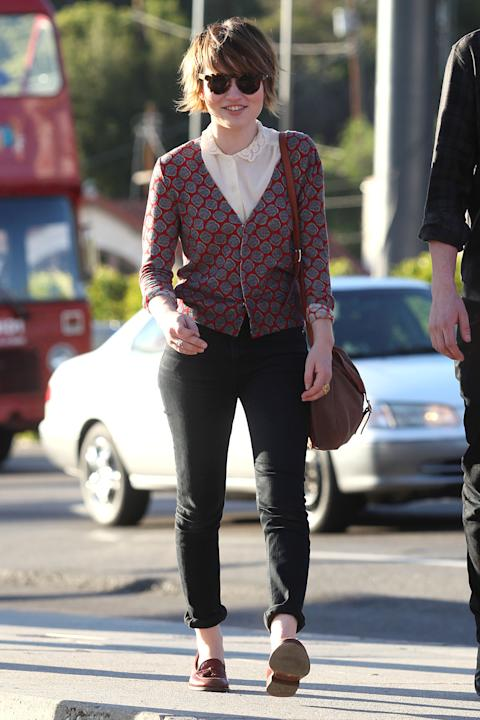 Emily in menswear-style loafers