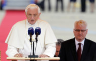 Pope Benedict XVI, left, delivers a speech as Croatia's president Ivo Josipovic listens, upon his arrival at the Zagreb airport, Croatia, Saturday, June 4, 2011. Pope Benedict XVI is on a two-day visit to Croatia.