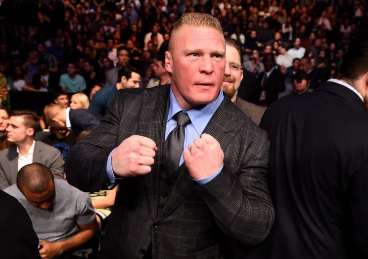Brock Lesnar in attendance during the UFC 184 event at Staples Center on February 28, 2015 in Los Angeles, California. (Photo by Jeff Bottari/Zuffa LLC/Zuffa LLC via Getty Images)
