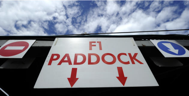 The entry sign to and from the paddock hangs from the overpass at the Circuit de Monaco on May 23, 2012 in Monte Carlo ahead of the Monaco Formula One Grand Prix.  AFP PHOTO / BORIS HORVATBORIS HORVAT