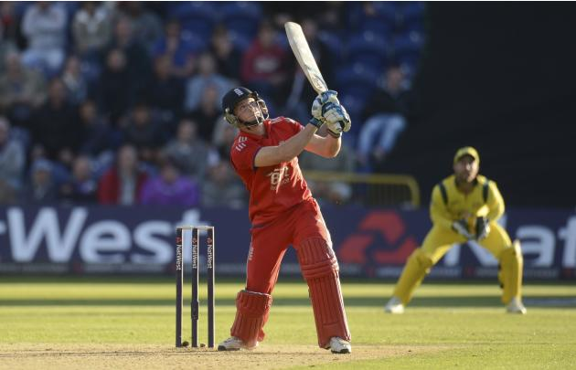 England's Buttler hits a six off the bowling of Australia's Johnson during the fourth one-day international at Sophia gardens in Cardiff, Wales