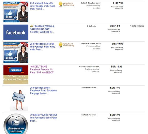 Bei Ebay gibt's Freunde und Likes im Sonderangebot.