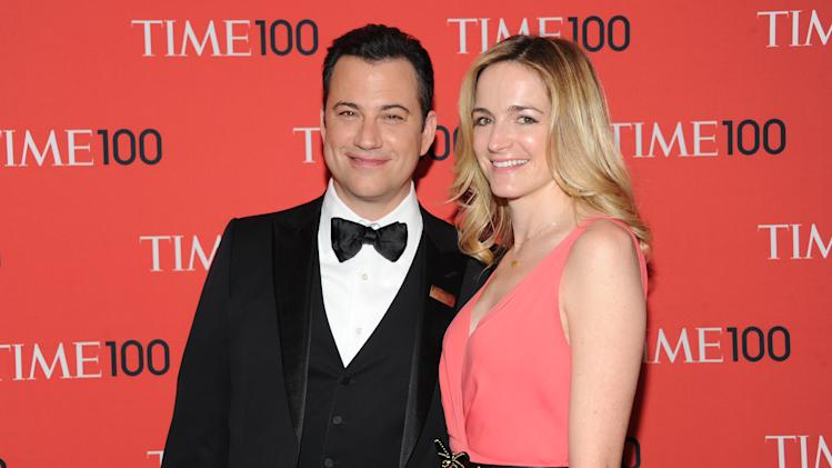 "Talk show host Jimmy Kimmel and fiancee Molly McNearney attend the TIME 100 Gala celebrating the ""100 Most Influential People in the World"" at Jazz at Lincoln Center on Tuesday April 23, 2013 in New York. (Photo by Evan Agostini/Invision/AP)"