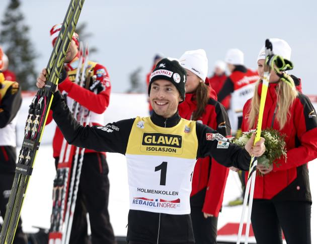 Bronze medalist Braud from France reacts after the men's nordic combined event at the Holmenkollen World Cup