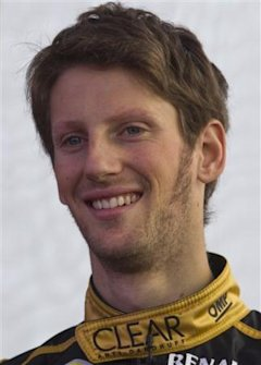 Lotus Formula One driver Romain Grosjean Switzerland posses during the presentation of the Lotus Formula One Team 2012 at the Jerez race track in Jere