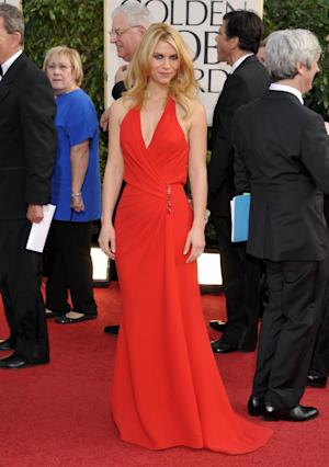 Actress Claire Danes arrives at the 70th Annual Golden Globe Awards at the Beverly Hilton Hotel on Sunday Jan. 13, 2013, in Beverly Hills, Calif. (Photo by John Shearer/Invision/AP)