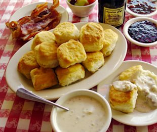 Loveless Cafe's signature biscuits and sausage gravy in Nashville, TN.