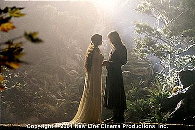 Liv Tyler as Arwen and Viggo Mortensen as Aragorn in New Line's The Lord of The Rings: The Fellowship of The Ring