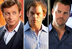 Simon Baker, The Mentalist; Michael C. Hall, Dexter; Chris O'Donnell, NCIS: LA | Photo Credits: Jaimie Trueblood/Warner Bros.; Randy Tepper/Showtime...