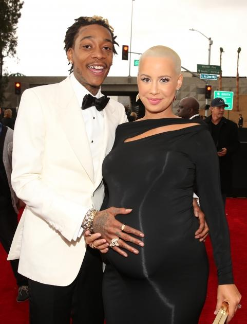 Wiz Khalifa and a very pregnant Amber Rose attend the 55th Annual GRAMMY Awards at STAPLES Center on February 10, 2013 in Los Angeles -- Getty Images