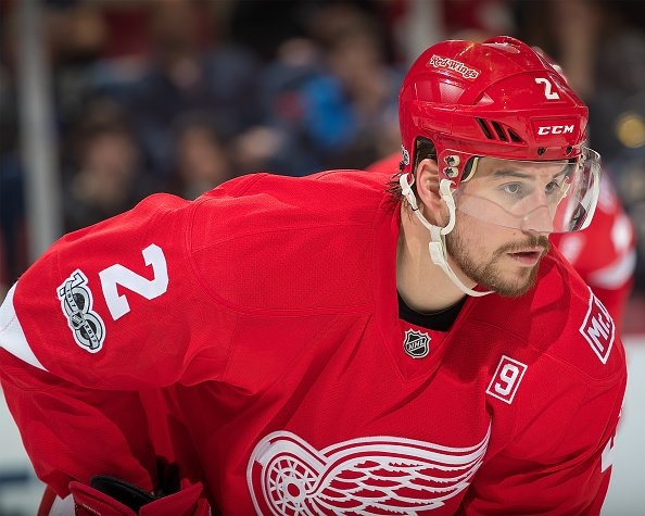 DETROIT, MI - FEBRUARY 15: Brendan Smith #2 of the Detroit Red Wings gets set for the face-off against the St. Louis Blues during an NHL game at Joe Louis Arena on February 15, 2017 in Detroit, Michigan. The Blues defeated the Wings 2-1. (Photo by Dave Reginek/NHLI via Getty Images)