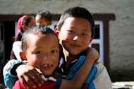 A group of Sherpa children in Lukla, Nepal.