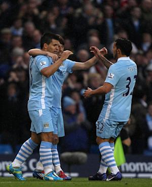 Sergio Aguero, David Silva and Carlos Tevez (l to r)