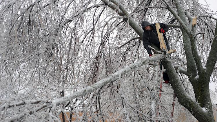 Sam Harwood removes a limb from a tree that had fallen from the freezing rain and snow near 14th Street, Wednesday, April 10, 2013 in Sioux Falls, S.D. (AP Photo/Argus Leader, Jay Pickthorn) NO SALES