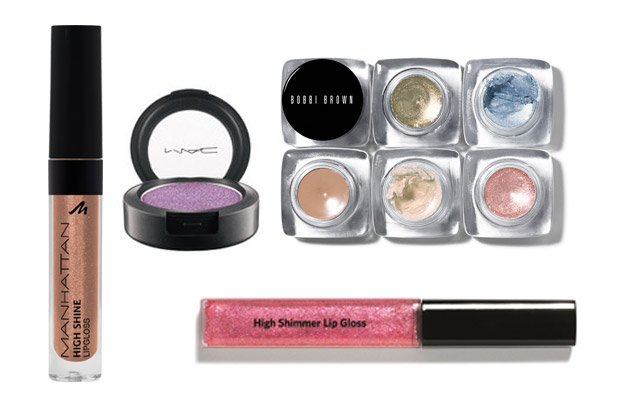 V.l.n.r.: Manhattan-Lipgloss, Mac-Lidschatten, Cream-Shadow und Lipgloss von Bobbi Brown (Bilder: PR)